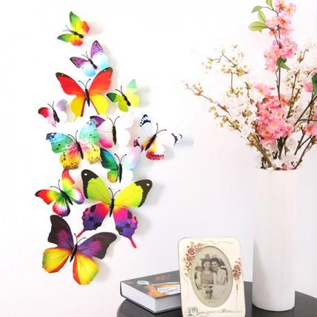 """3D Sienos lipdukai """"Vaivorykštiniai drugeliai"""""""