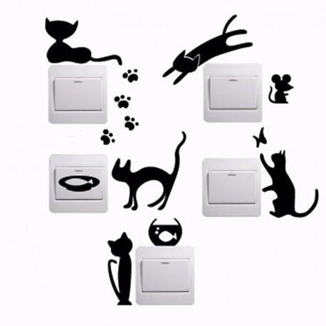 Sienos lipdukai Katinukai ant jungiklių