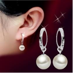 Balto perlo auskarai