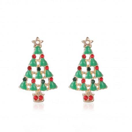 Kalėdiniai auskarai Green Christmas Tree